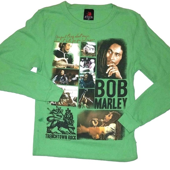 Zion Rootswear Other - Bob Marley Zion  Green Thermal Long Sleeve Shirt